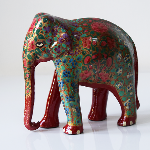 Red Paper Mache Elephant