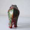 Red elephant with multicoloured floral motifs- rear view