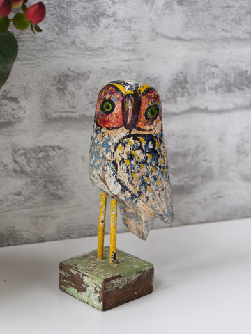 Light Blue Reclaimed Wood Owl