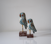 Set of 2 light blue distressed wooden owls - side view
