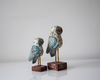 Set of 2 light blue and white distressed wooden owls - alternate view
