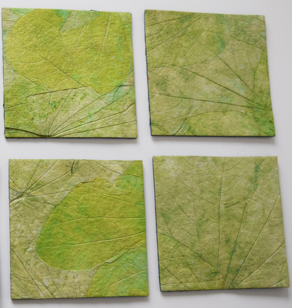 Green handmade paper coasters-set of 2, 4 or 6