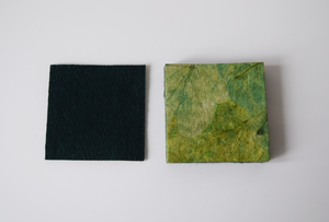 Green handmade paper coasters with felt backing