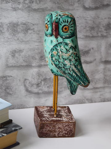 Mint Reclaimed Wood Owl