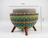 Rangeen- Plastic woven moda, stool w measurements