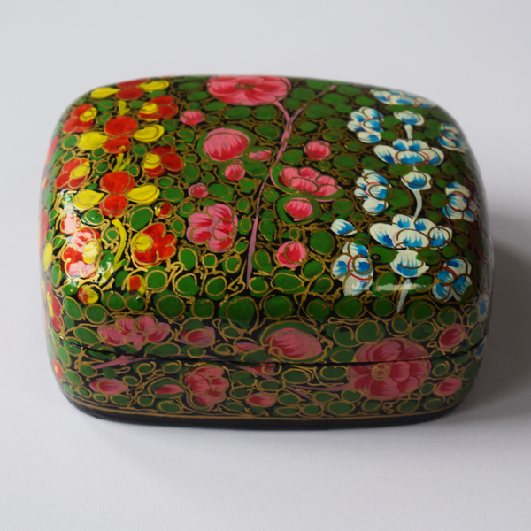 Multicoloured Floral Paper Mache Box against a white background