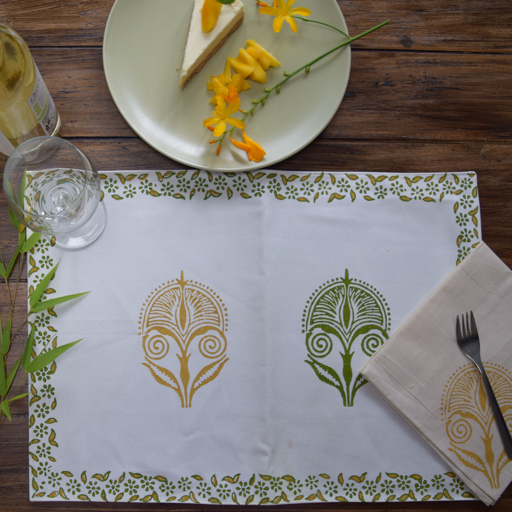 Mustard and green block print on white, table linen set