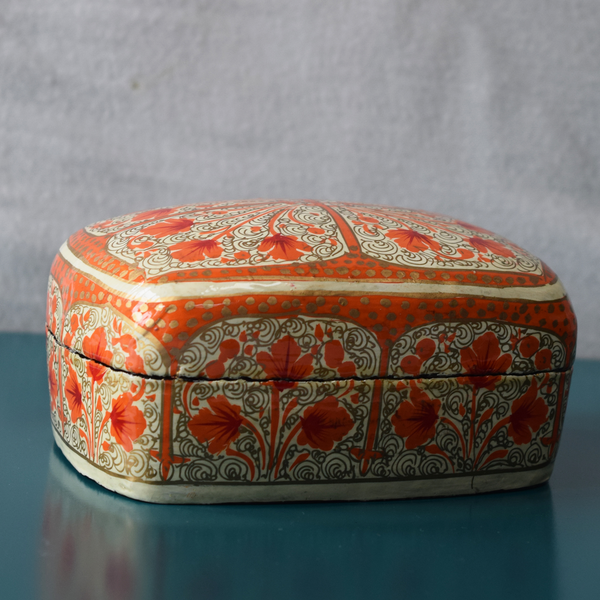 White and Orange Paper Mache Box