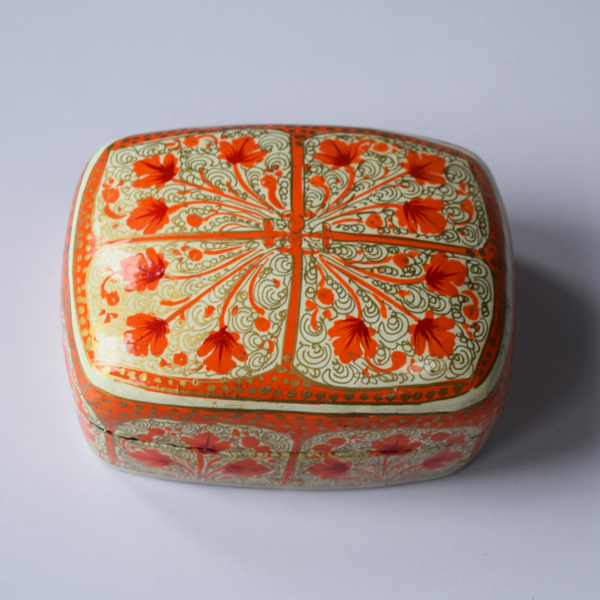 White Paper Mache Box with Orange and Gold floral patterns