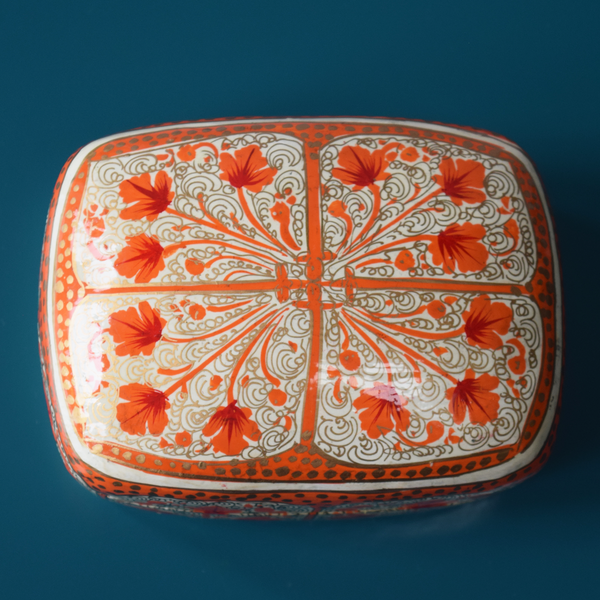 White and Orange Floral Paper Mache Box