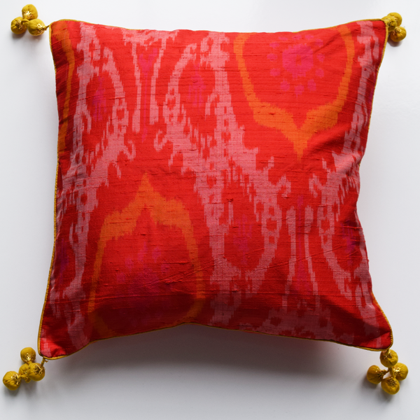 Gulmohar, Orange Raw Silk Ikat Cushion Cover