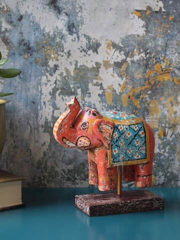 Orange Reclaimed Wood Elephant