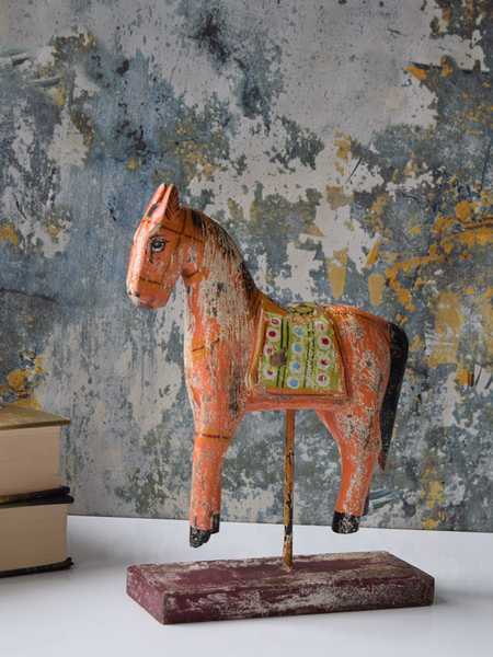 Turquoise and Orange Wood Horses-Set of Two or Single