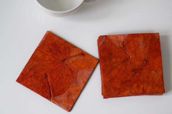 Orange handmade paper coasters x6