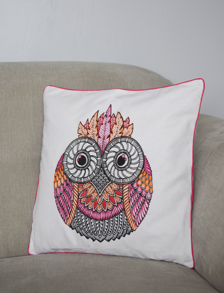 Owl cushion cover in pink and orange embroidery
