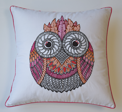White Owl cushion cover in pink and orange embroidery with pink piping