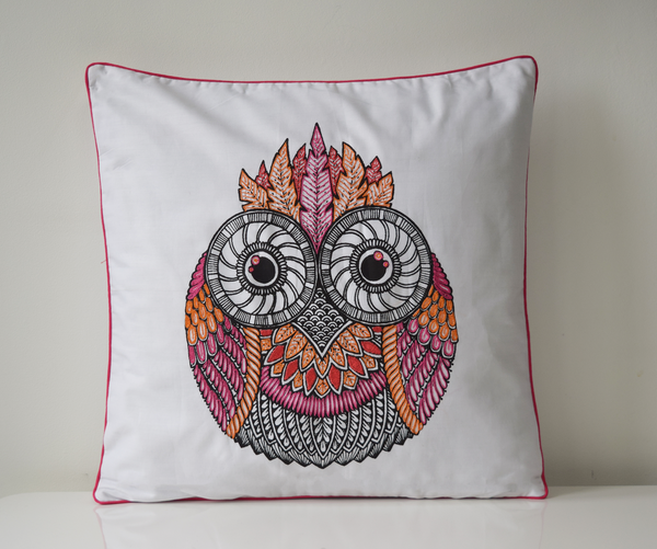 Pink Mandala Owl cushion cover