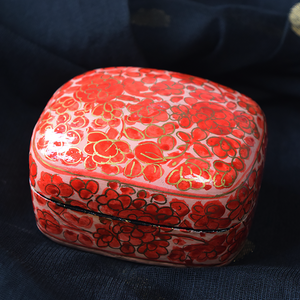 Peach, Red and Gold Floral Paper Mache Box (Small)