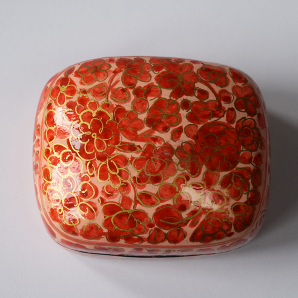 Peach, Red and Gold Floral Paper Mache Box- top view
