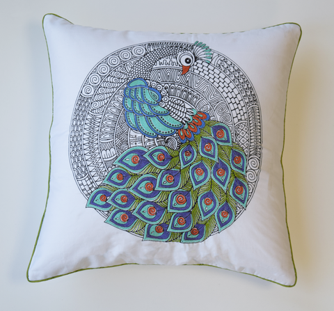 Emboidered peacock cushion cover in blue, green and rust embroidery