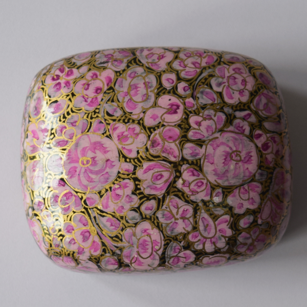 Pink, Black and Gold Floral Paper Mache Box -top view