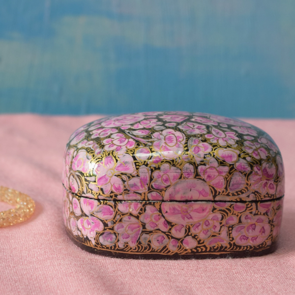 Pink, Black and Gold Floral Paper Mache Box (Small)