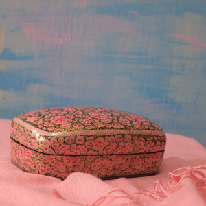 Pink and Gold Floral Paper Mache Box
