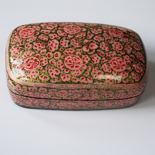 Pink and Gold Paper Mache Box