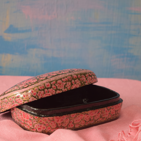 Pink and Gold Floral Paper Mache Box- open