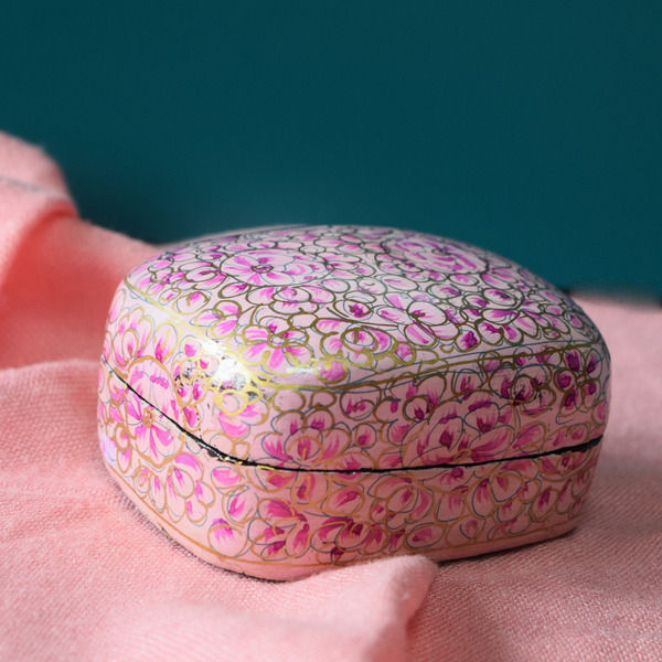 Pink and Gold Floral Paper Mache Box (Small)