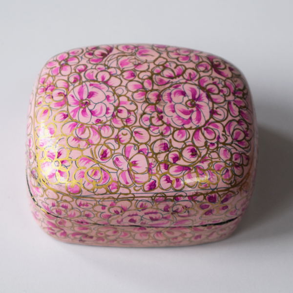 Pink and Gold Floral Paper Mache Box on white background