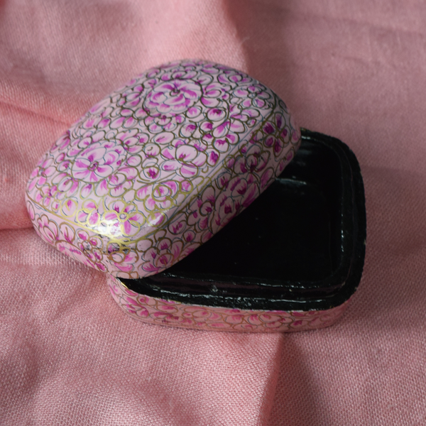 Pink and Gold Paper Mache Box (Small)