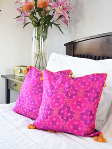 Pair of Gulabi Silk IKat Cushion Covers