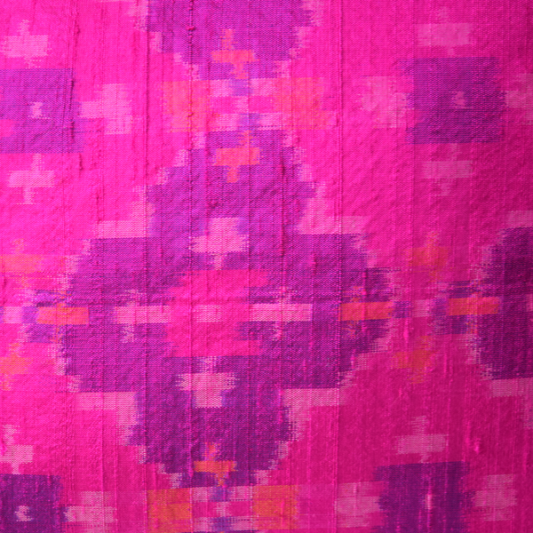 Gulabi Pink Silk Ikat Cushion Cover fabric details