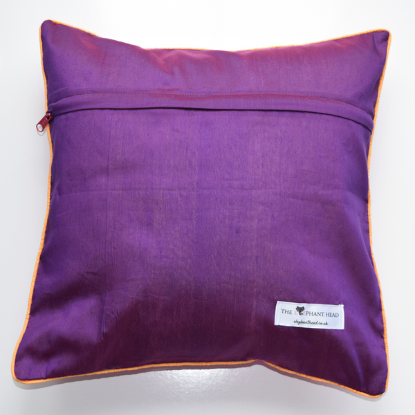 Gulabi Silk IKat Cushion Cover- purple backing