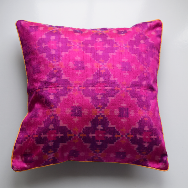 Gulabi Pink Silk IKat Cushion Cover on white background