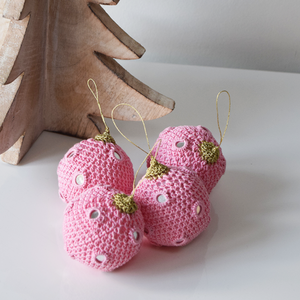 Pink Crochet Christmas Baubles with Mirrors
