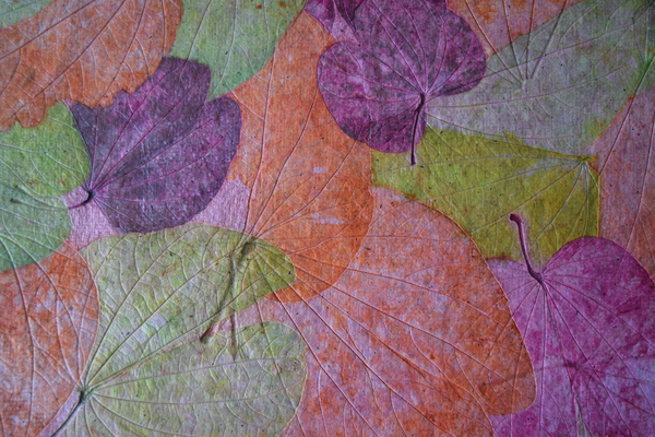 pink, green and purple handmade paper tablemat -leaf details