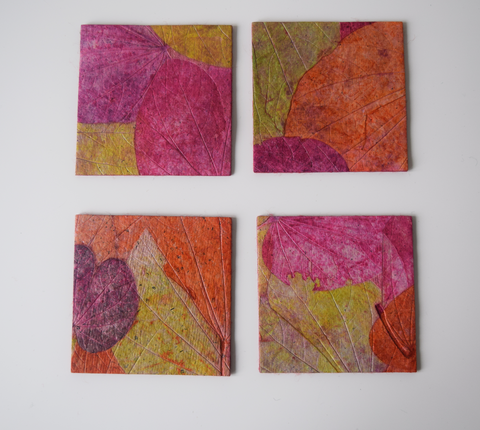 pink, green and purple coasters - set of 4