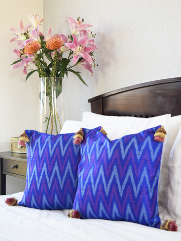 Blue and Purple Silk Ikat Cushion Covers