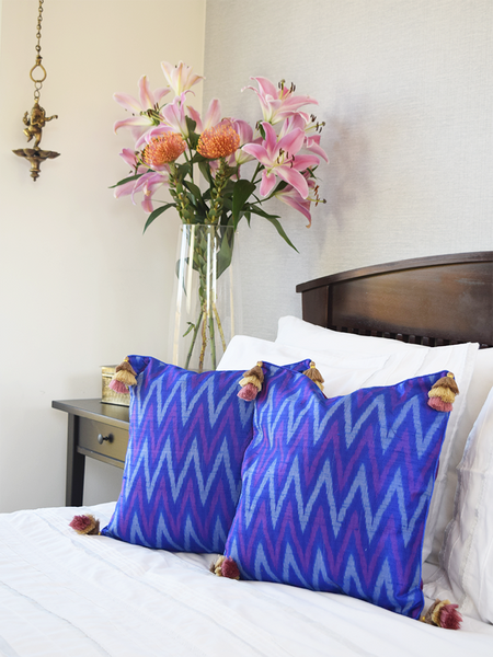 Blue and Purple Silk Ikat Cushion Covers in zig-zag pattern