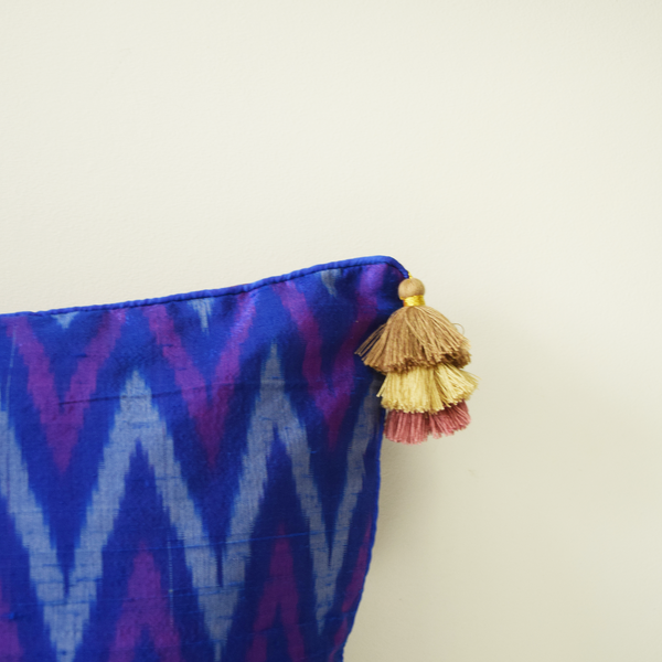 Blue and Purple Silk Ikat Cushion Cover with gold and pink 3 tier tassels