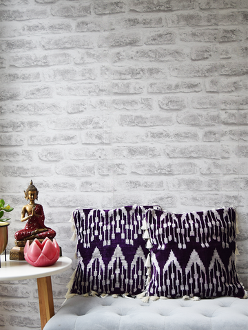 Purple Silk Velvet Ikat Cushion Cover with white tassels