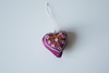 Single purple heart shaped Christmas decoration with white embroidery and mirror work