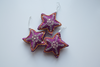 3 Purple star shaped Christmas decoration with pink, yellow embroidery and mirror work