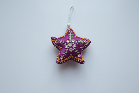 Purple heart shaped Christmas decoration with white and orange embroidery and mirror work