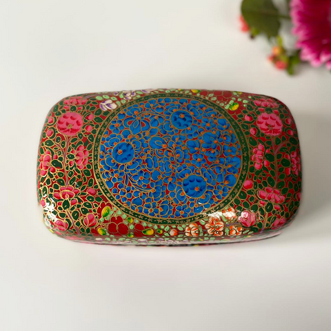 red, blue, multicoloured Floral Paper Mache Box
