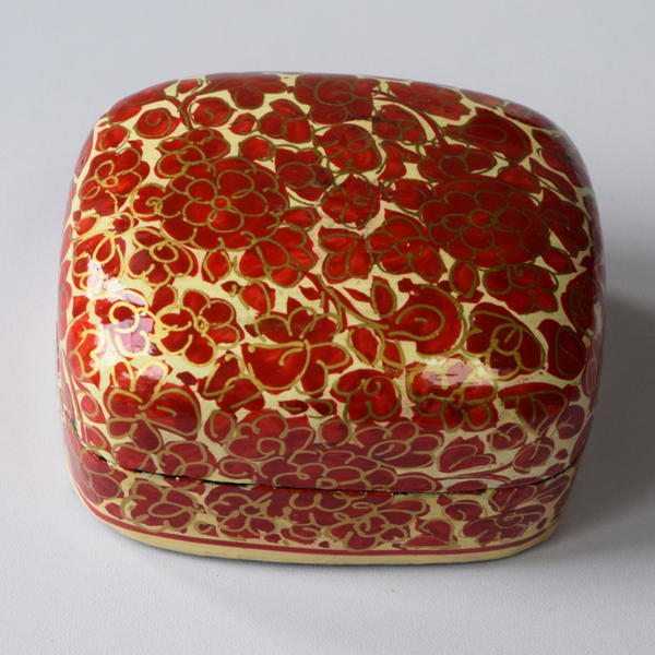 Cream, Red and Gold Floral Paper Mache Box (Small)