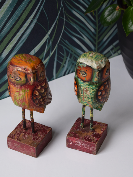 Red and Green Reclaimed Wood Owls