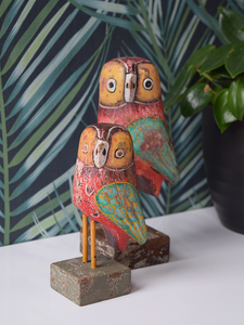 Red Reclaimed Wood Owls